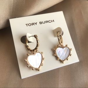 Tory Burch mother of pearl heart earrings